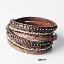 Fashion Women Men Leather Friendship Cuff Wrap Bangle Charm Multi-Layer Bracelet