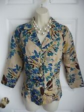 Coldwater Creek Jacket Blazer S NWT Linen Rayon 3/4 Sleeve $89.50 Muted Florals