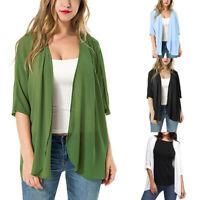 Womens Lace Up Chiffon Loose Cardigan Blouse Summer Beach Cover Up Kimono Tops