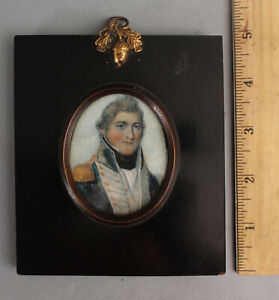 Early 19thC Antique American US Navy Naval Officer, Miniature Portrait Painting