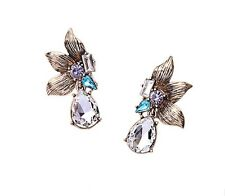 NEW Fashion Glamour Leaf Bronze Glass Crystal Stone Dangler Drops Earrings Gift