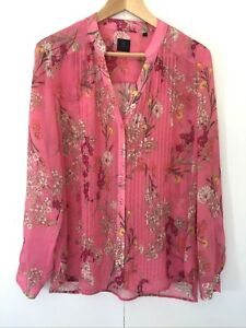 David Lawrence Floral Sheer Blouse Size 16 Long Sleeve Button Front