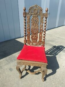 Antique Carved Jacobean Chair High Back, High Relief Carving Wood
