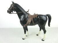 Vtg Marx Johnny West Toy Figures - Thunderbolt Black Horse w Brown Saddle BOTW
