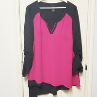 Lane Bryant Pink And Black Color Block Blouse Size 18/20