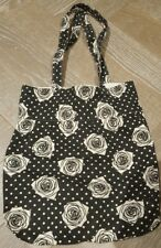 Dorothy Perkins rose print black & white heavy cotton tote bag