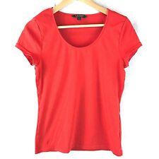 Lauren Ralph Lauren Womens Cotton Stretch Tee Size Large Scoop Neck Red