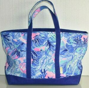NEW Lilly Pulitzer MERCATO TOTE Saltwater Blue Shade Seekers Pink LARGE BAG