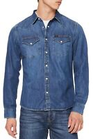 LEE New Mens Western Denim Shirt New Men's Oil Blue Jean Shirts Slim Fit