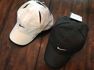 $44 Lot X 2 NIKE Run Tennis Golf Featherlight Hats Caps Dri Fit WHITE BLACK NEW