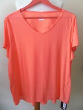 M&S T Shirt Bright Orange Neon Comfort Range Lightweight Relaxation Sz 22 BNWT