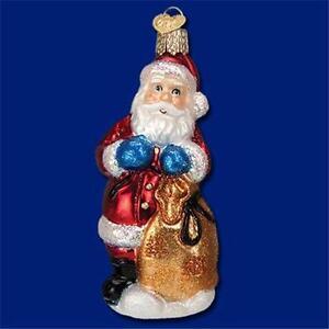 CHOCOLATE MOLD SANTA CLAUS HOLDING SACK OLD WORLD CHRISTMAS GLASS ORNAMENT 40237