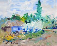 dirt tract old cottage EXPRESSIONIST landscape PAINTING Semberecki
