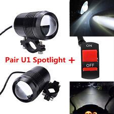 2x CREE LED U1 Lens Motorcycle Headlight Driving Fog Light Spot Lamp + Switch