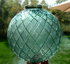 Vintage Teal Green Flat Quilt Glass Lightning Rod Ball