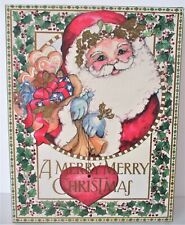 Vintage Christmas Santa Box Gift Storage Decor Lr 1989 14.75 x 2.5 x 19 Holly