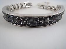 Kenneth Cole silver tone smokey crystal bracelet, NWT