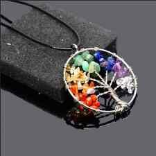 Royal Crystal Quartz Tree of Life Pendant Necklace Gemstone 7 Chakra Healing New