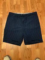 Timmy Hilfiger Men's Navy & Light Blue Striped Shorts Size: 38 EUC