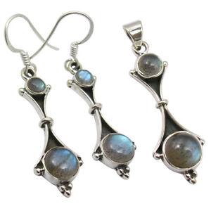 Round CABOCHON LABRADORITE Earrings Pendant Matching Jewelry Set 925 Pure Silver