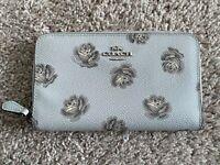 NWOT Coach Light Blue Medium Size Poppy Print zip around wallet