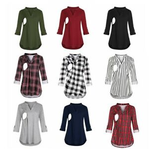 Women Maternity Long Sleeve T-Shirt Tops Pregnancy Breastfeeding Nursing Blouse