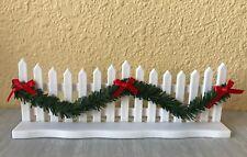 Miniature Dollhouse FAIRY GARDEN ~ CHRISTMAS White Fence w Green Garland & Bows