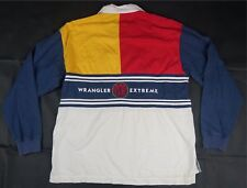 Rare Vintage WRANGLER Extreme Sport Spell Out Color Block Rugby Polo Shirt 90s L