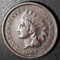 1867 INDIAN HEAD CENT - With LIBERTY - VF VERY FINE Details