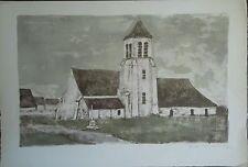 André MINAUX (1923-1986), Lithographie, Eglise P1606
