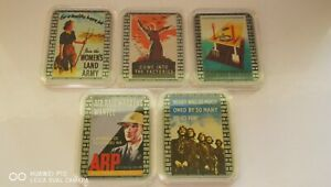 Collectable 5pc joblot Posters of World War ll silver plated Bullion Bars