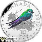 2015 Violet-Green Swallow-Songbirds Proof $10 Silver Coin 1/2oz .9999(17388)(NT)
