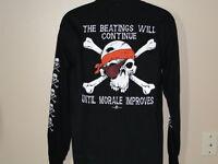 Men's Black Long Sleeve Beatings Will Continue Skull Pirate T-Shirt Tee T-shirt