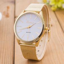 Mens Womens Fashion Convex Dial Crystal Stainless Steel Band Quartz Wrist Watch