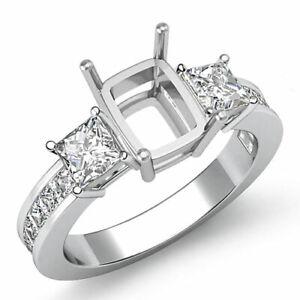 Three Stone Diamond Wedding Ring Platinum 950 Princess Cushion Semi Mount 1.1Ct