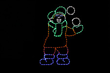 Boy Juggling/Tossing Snowballs Led Metal Wireframe light display yard decoration