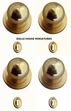 Four Gold Door Knobs With Keyholes, Doll House Miniatures, 1.12 Scale