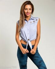 R1 Women Blue Button up Shirt Top Stars cut Tie Blouse Juniors S M L