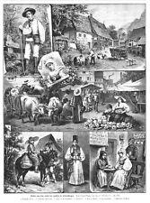 Siebenbürgen, Transsilvanien,Trachten, Rumänien, Original-Holzstich von ca. 1885