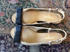 44fd24d08662 CHANEL Beige   Black Bow CC Logo Leather Sandals Shoes Sz 38.5C