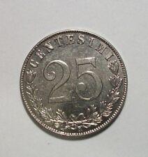 Italy 1902-R 25 Centesimi Au Coin,