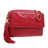 CHANEL Quilted Fringe CC Single Chain Shoulder Bag 3175578 Red Leather AK43572