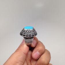 Afghan Turkmen Tribal Kuchi Handmade Oval Blue Turquoise Inlay Ring,Size:8, R72