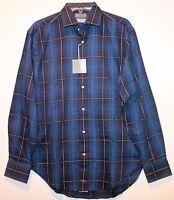 Thomas Dean Mens Cobalt Blue Check Button-Front Dress Shirt NWT $110 Size S