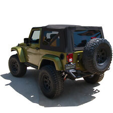 Jeep Wrangler JK Soft Top, 2007-09, Tinted Windows, Black Twill Matl