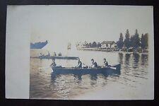 Oar boat on WHITE LAKE? Whitehall, Michigan RPPC vintage postcard