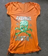 Festival Casual Sequin Sparkly Neon Orange Skull Summer Long Top Blouse Tunic M