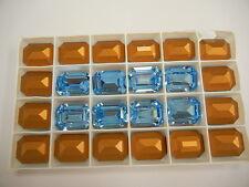 4 swarovski double cut brooch stones,20x15mm aquamarine/foiled #4610