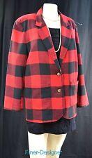 Palmettos Vintage Blazer Wool Blend Buffalo Check Oversized Fit boyfriend coat M