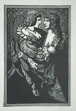 The Lover's Embrace, Lovers - Genuine Woodblock Print C1928 (Woodcut) By W Jones